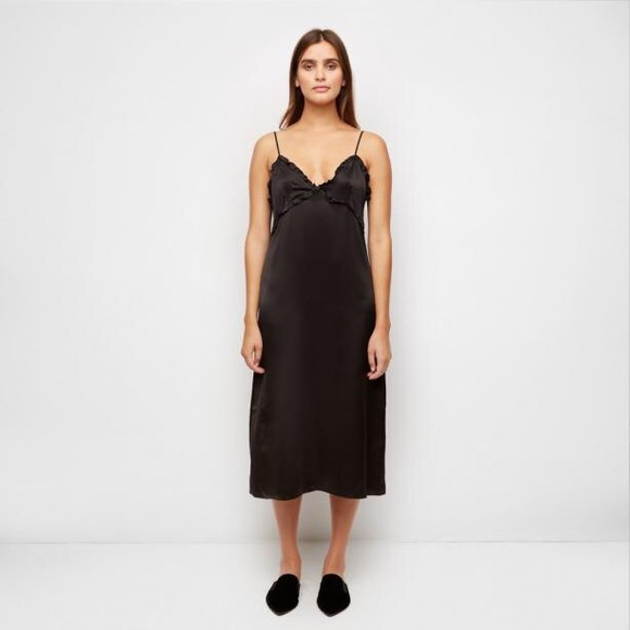 ee0ebc9664 NWT Jenni Kayne Satin Ruffle Slip Dress in Black